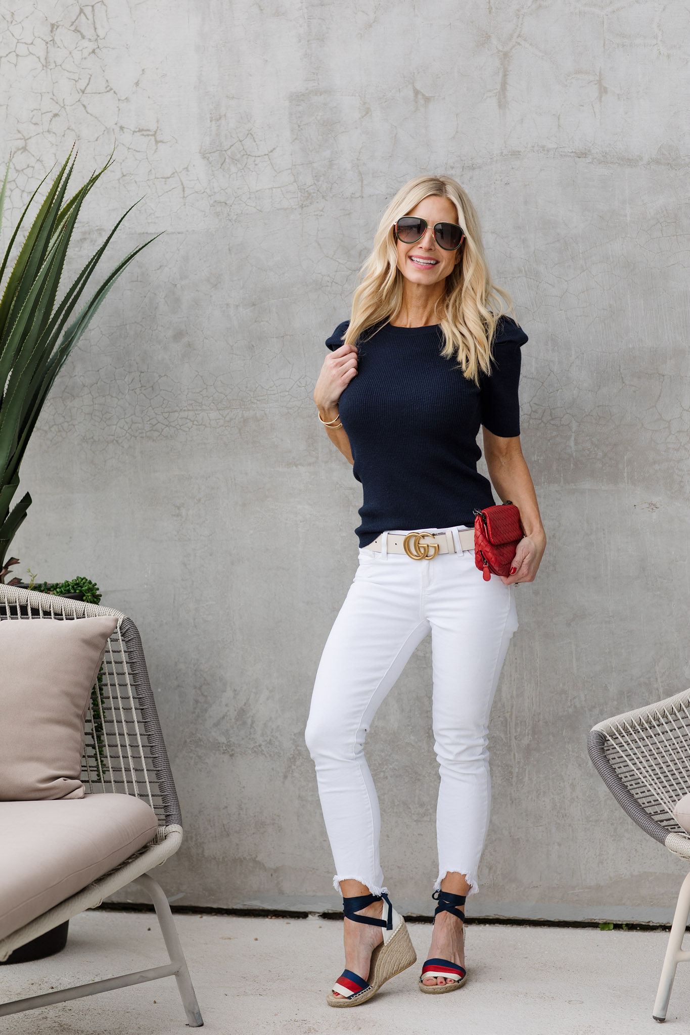 white pants spring outfit