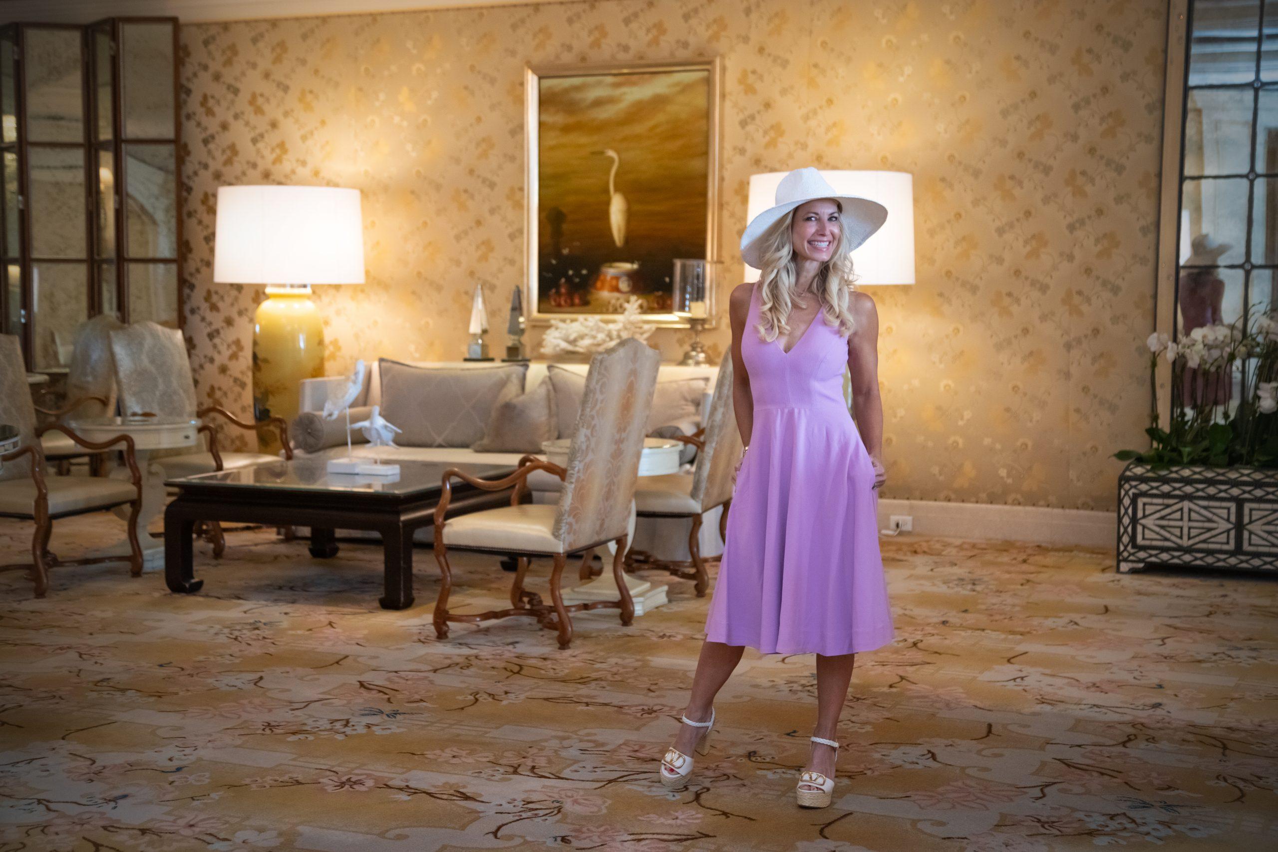 girl in lavender dress, hat , wedges